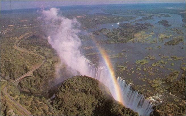 Victoriafälle, Ludtaufnahme, Viktoria-Wasserfälle